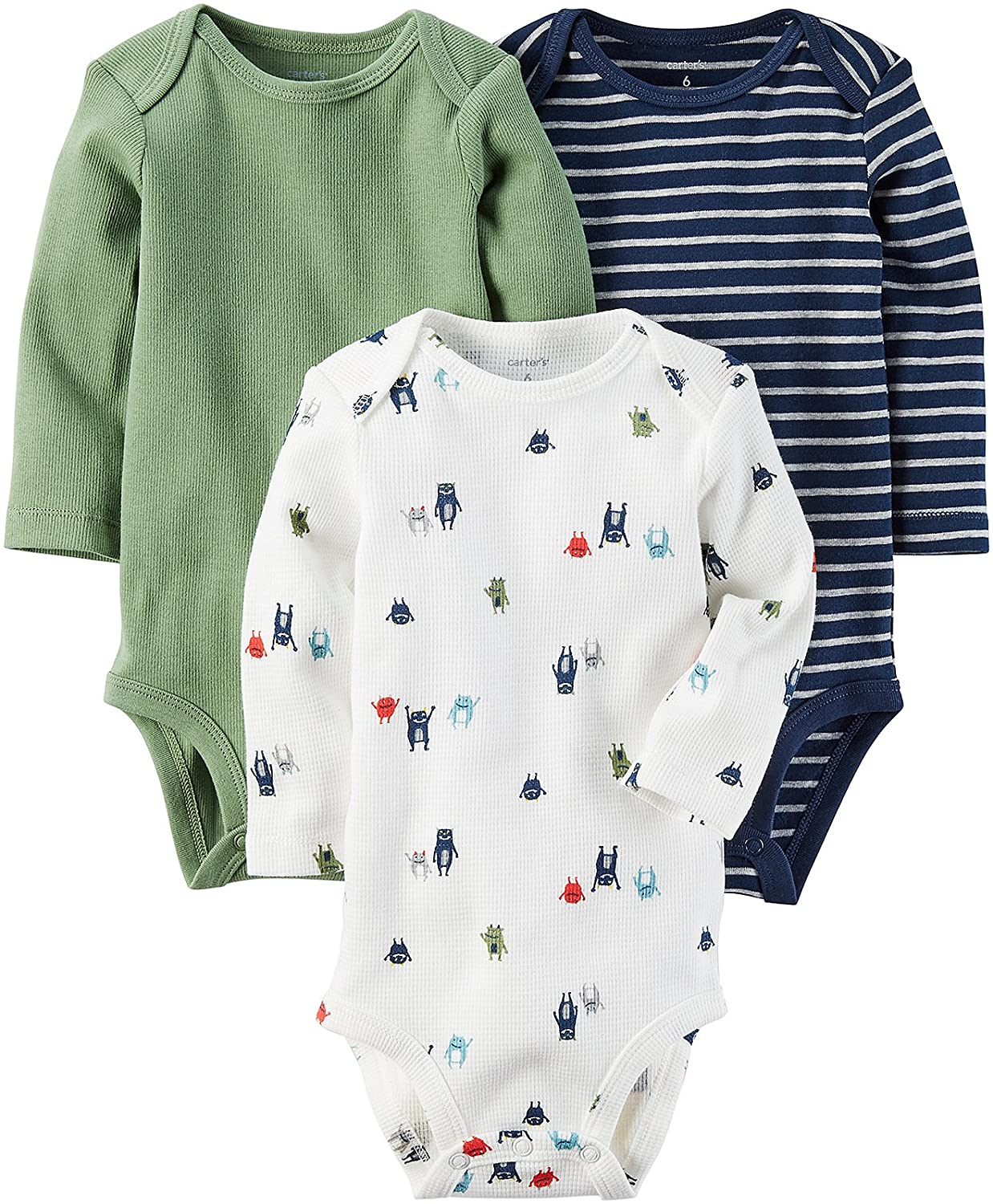 Carter's Infant Boys Henley Baby Outfit Winter Bodysuit 3PC Long Sleeve Set