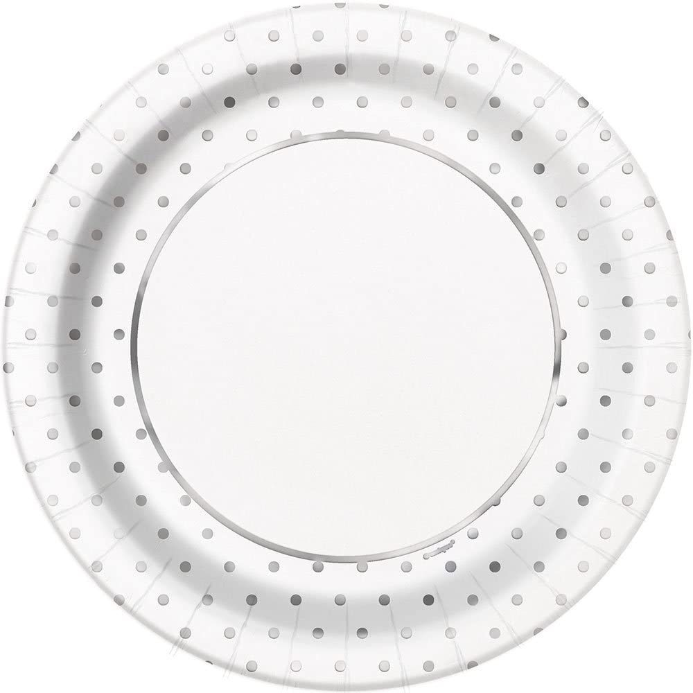 Elegant Silver Foil Dots Round Dinner Party Paper Plates - Foil Board, 8 Ct.