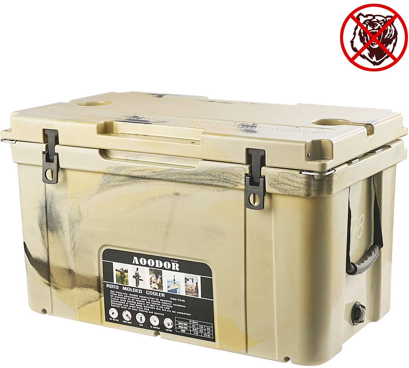 Aoodor Roto Molded Cooler 78 Quart Grizzly Bear Resistant with Basket Wheeled
