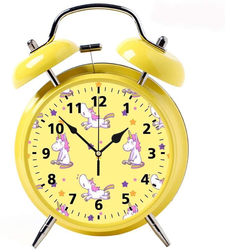 Childrens Desk Decor Decorative Alarm Clock Bedside Snooze Double Bell Silent Bedroom Quartz Round Digital Living Room Metal Yellow Cute Unicorn