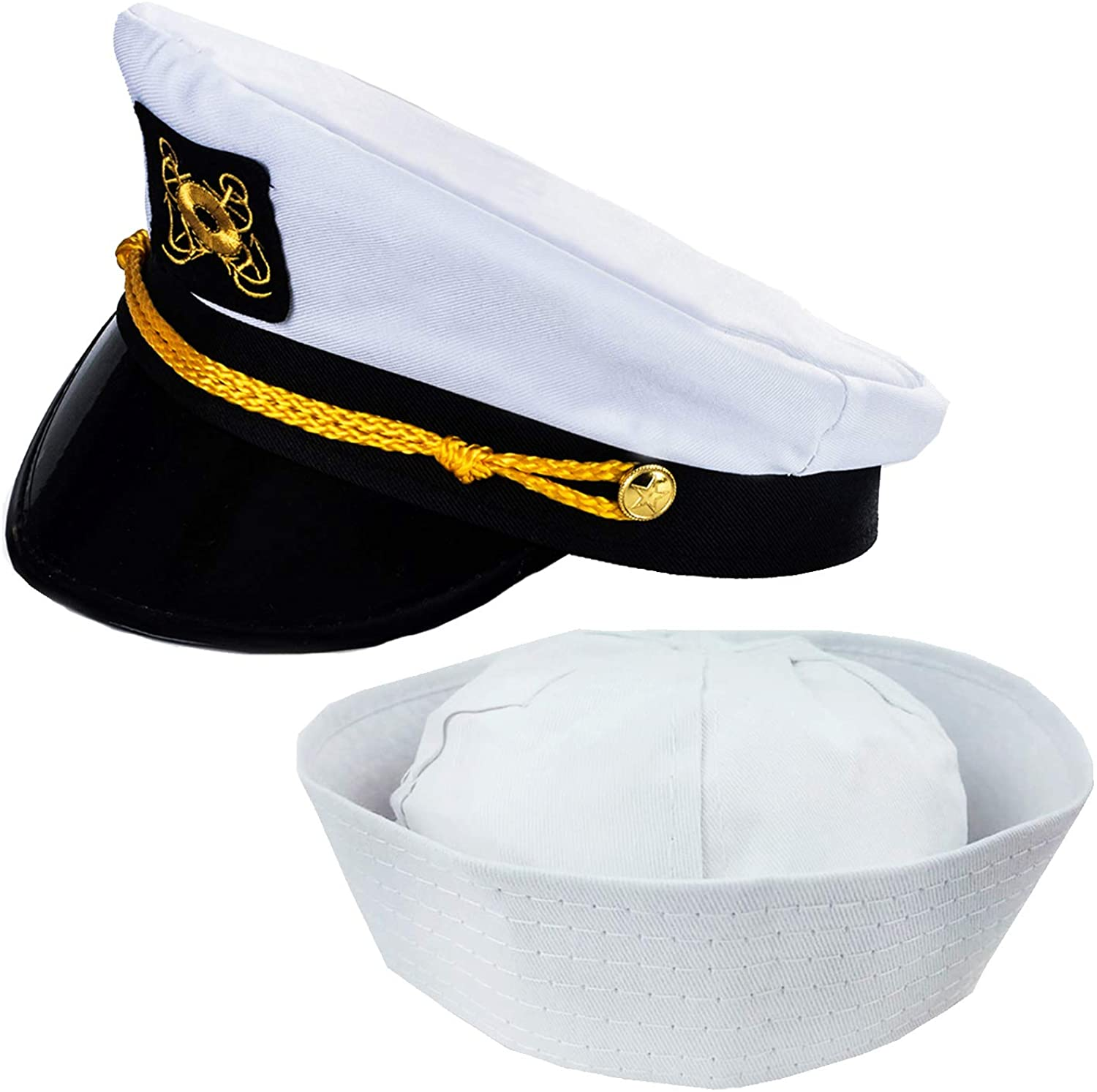 Funny Party Hats Adult Captain's Yacht Hat and White Cotton Sailor Hat - Nautical Party Hats - Sailor Dress Up Hats