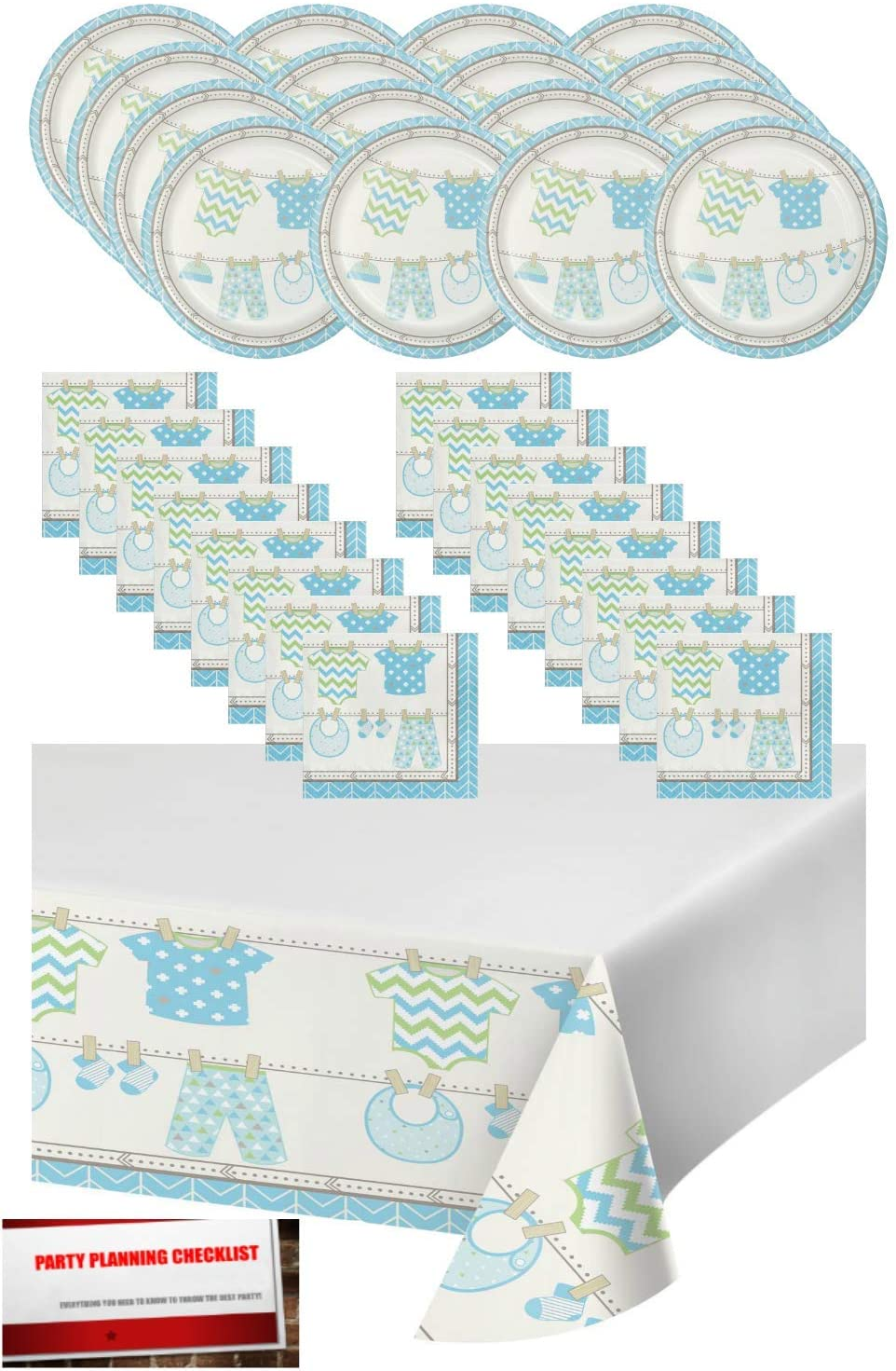 Blue Boy Baby Shower Party Supplies Bundle Pack for 16 - Plates, Napkins and Table Cover (Plus Party Planning Checklist by Mikes Super Store) (Boy Blue)