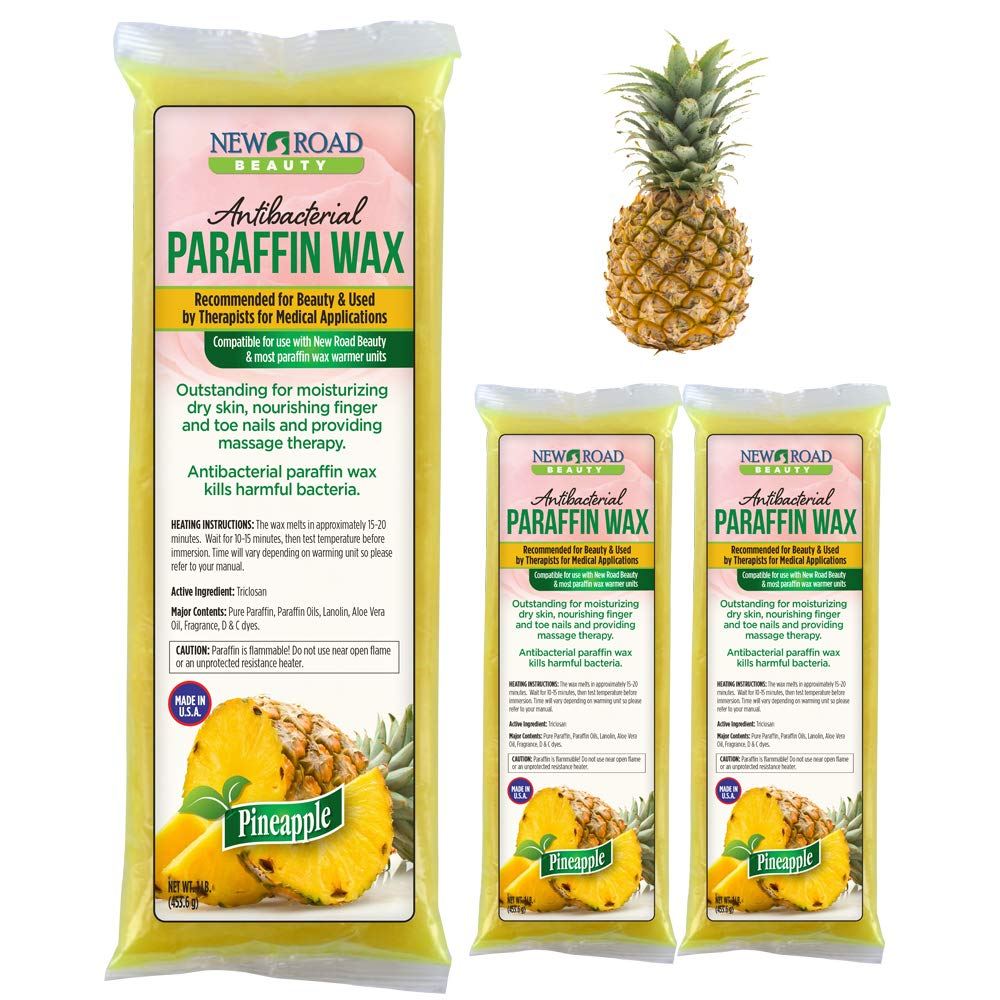New Road Beauty Antibacterial Pineapple Paraffin Wax - Moisturize and Smooths Skin - Nourishing and Provides Massage Therapy - Pack of 3