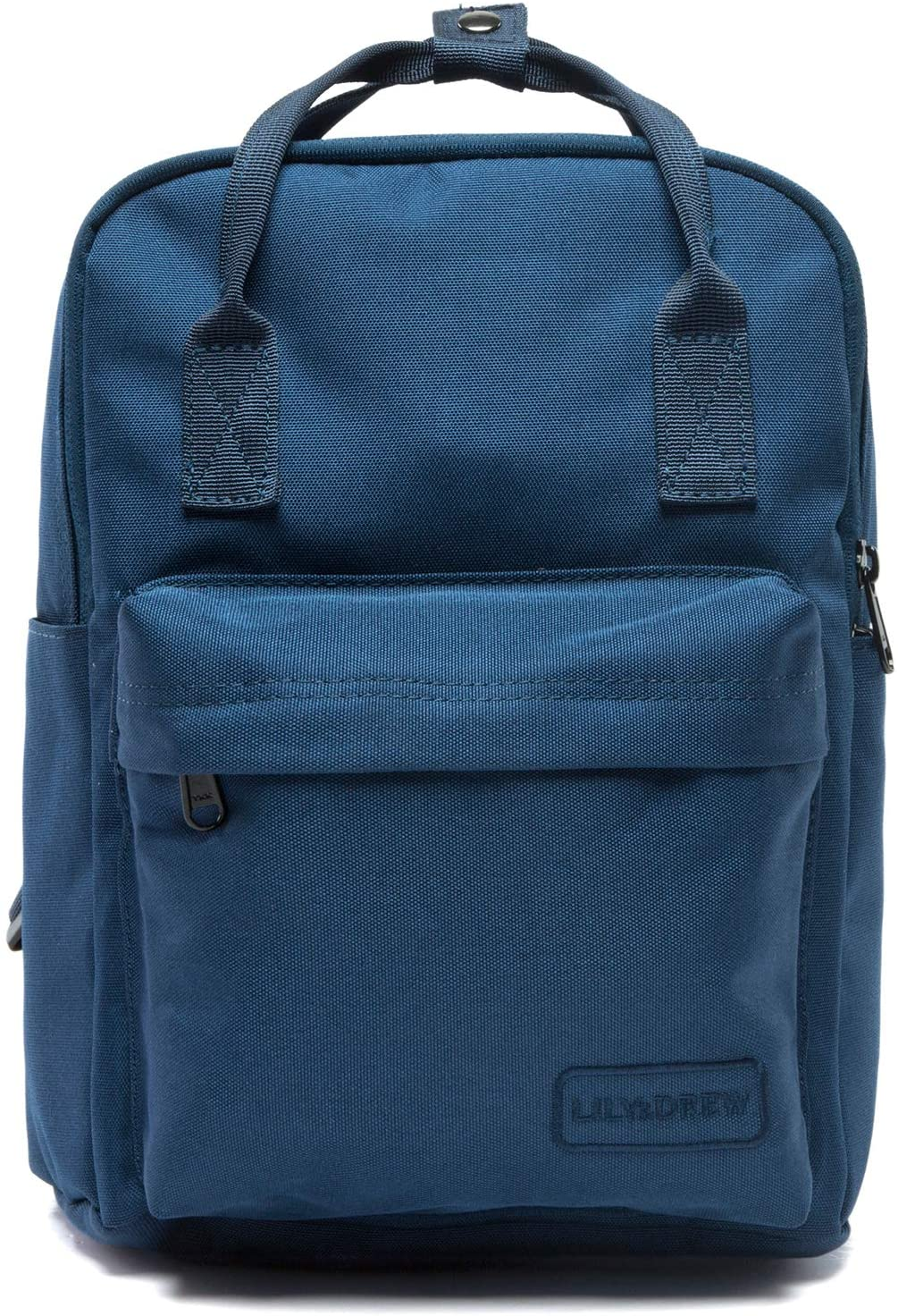 Lily & Drew Small Casual Lightweight Mini Travel Backpack Purse with Top Handles Waterproof for Women (Poly-Navy Blue)