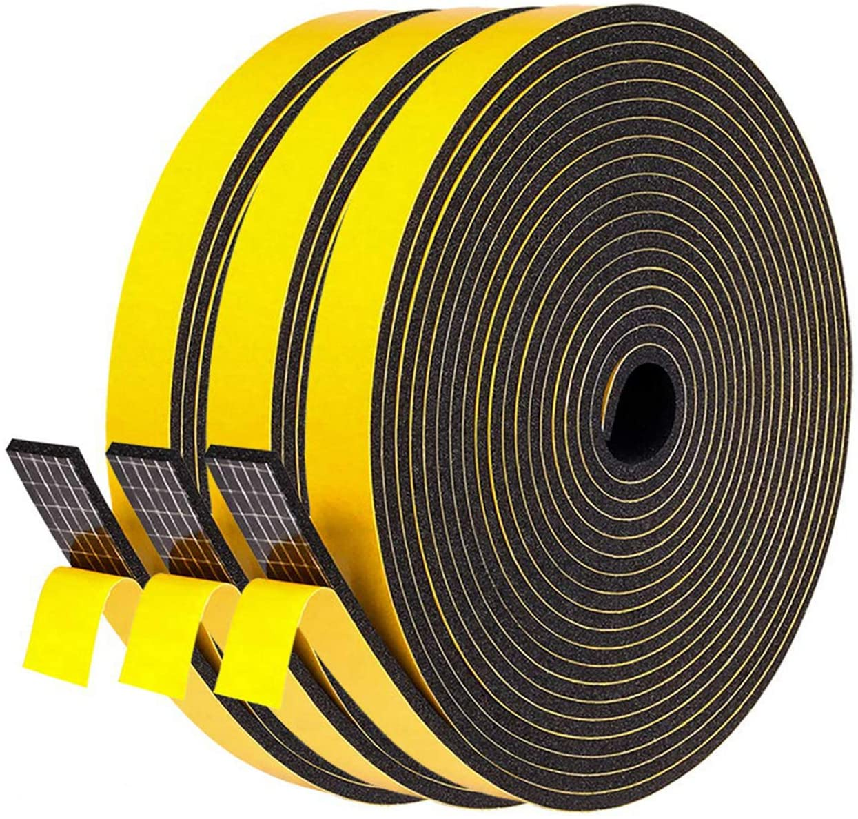 Fowong Weather Stripping Soundproofing 3 Rolls, 1/2