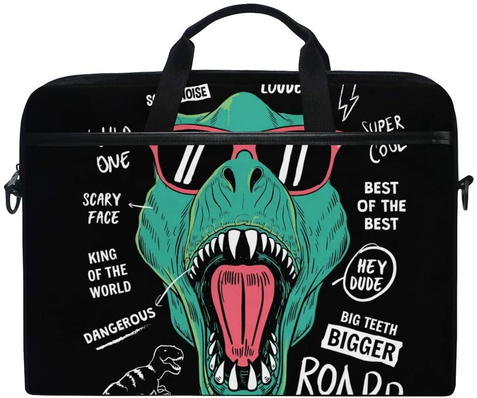 MRMIAN Cool Dinosuar Funny Laptop Case Bag Sleeve Portable/Crossbody Messenger Briefcase Convertible w/Strap Pocket for MacBook Air/Pro Surface Dell ASUS hp Lenovo 15-15.4 inch