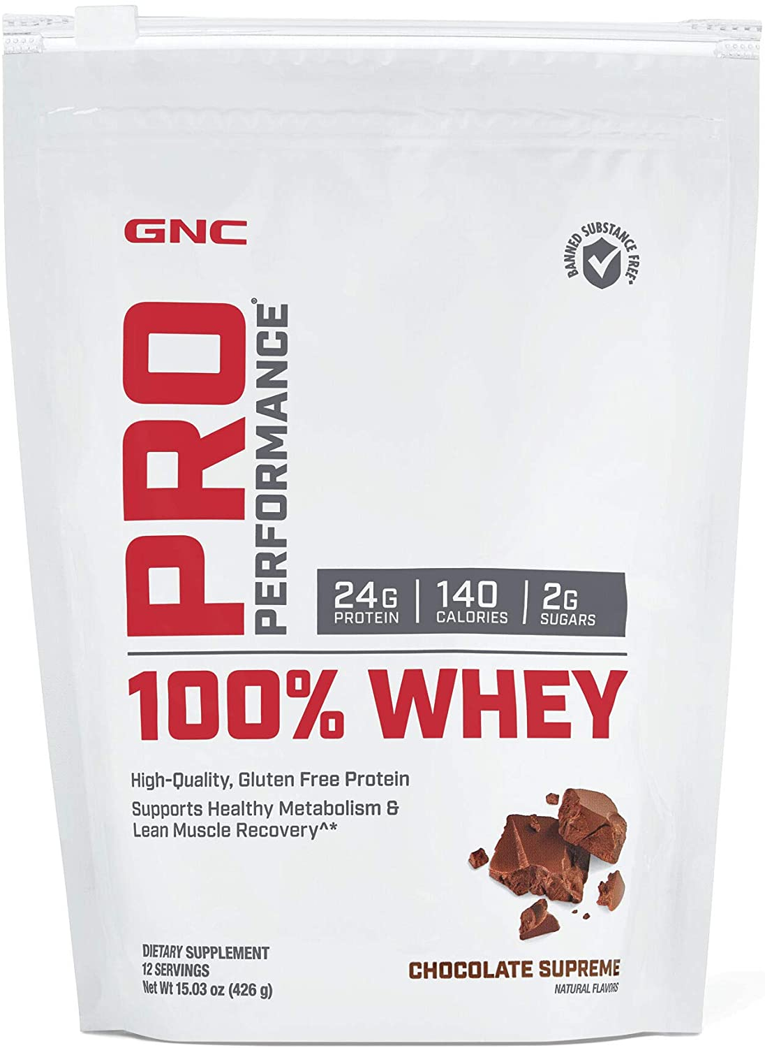 GNC Pro Performance 100% Whey Protein Powder - Chocolate Supreme, 12 Servings, Supports Healthy Metabolism and Lean Muscle Recovery