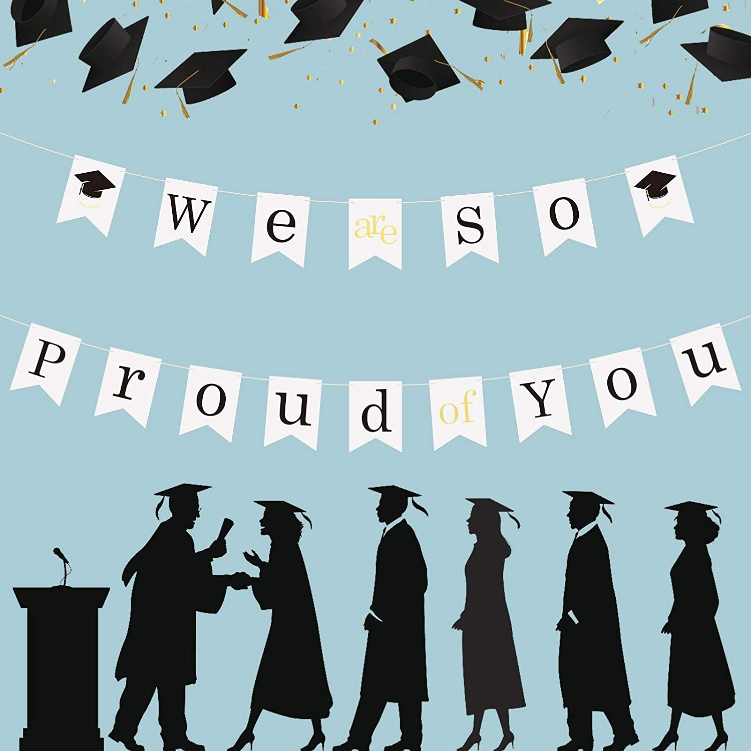 KATOOM Graduation Bunting,WE are SO Proud of You Banner 2020 Congrats Grad Party Swallowtail Flag Decorations Supplies for College High School Photo Backdrop Hanging Props (White)