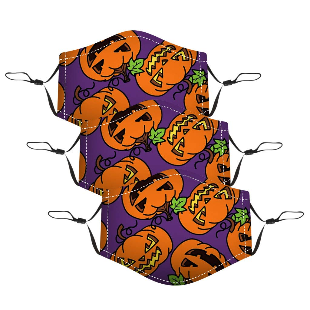 Walsent 3/5PCS Cute Halloween Print Children Kids Adjustable Cotton Face Bandanas Reusable Face Mouth Bandanas Protective for Outdoor