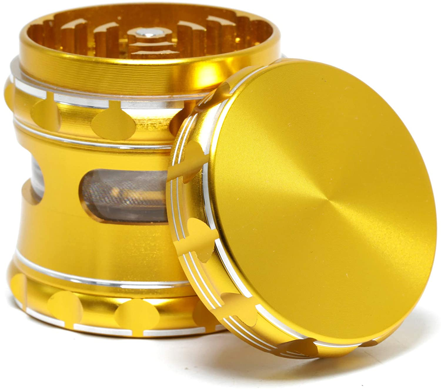 Aluminum alloy material CNC anodized 2.5 inch 5 layer herb grinder (gold)