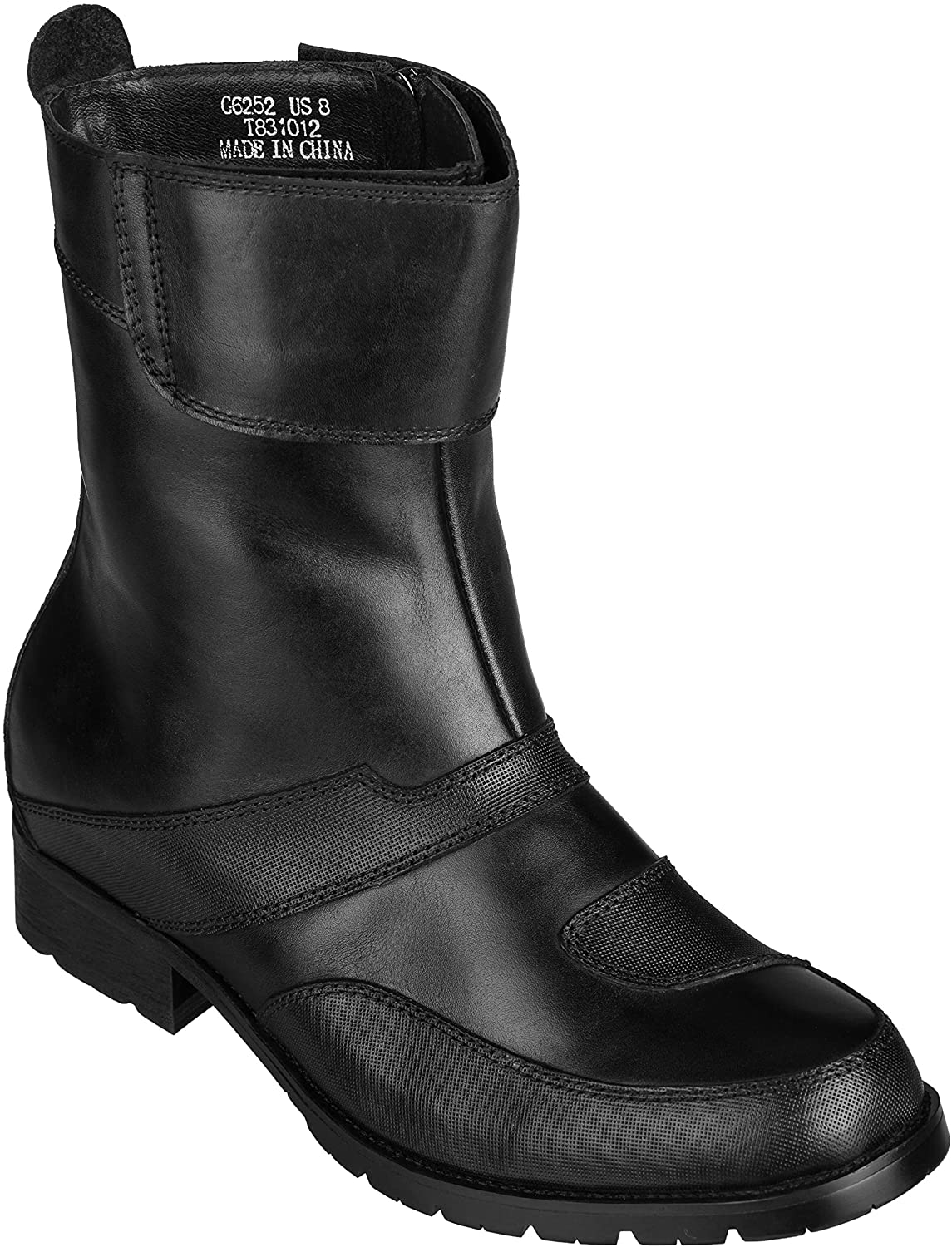CALTO Men's Invisible Height Increasing Elevator Shoes - Black Leather Zipper High-top Biker Boots - 3.3 Inches Taller - G6252