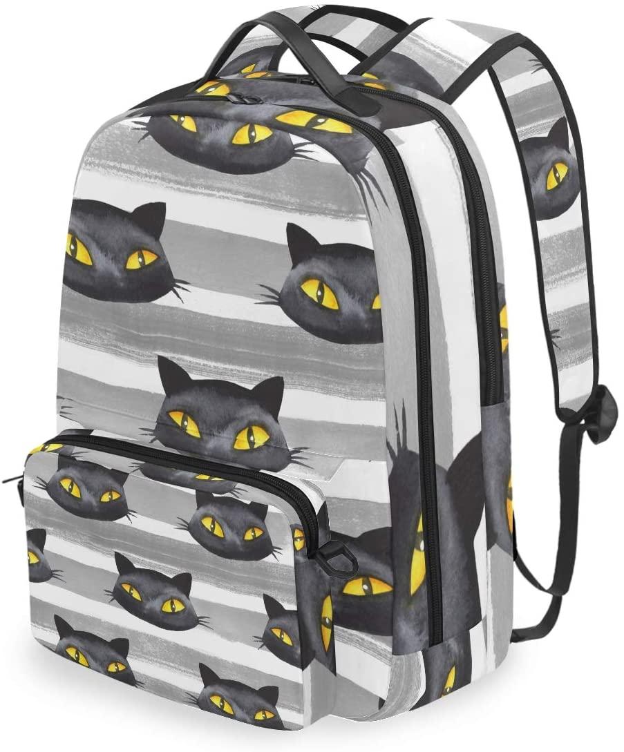 MAHU Backpack Halloween Black Cat Stripe Detachable College Bag Travel Zipper Bookbag Hiking Shoulder Crossbody Bag Daypack for Women Men