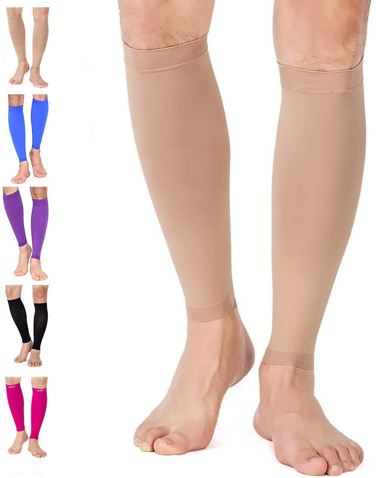 TOFLY Calf Compression Sleeve for Men & Women, 1 Pair, Footless Compression Socks 20-30mmHg for Leg Support, Shin Splint, Pain Relief, Swelling, Varicose Veins, Maternity, Nursing, Travel, Beige L
