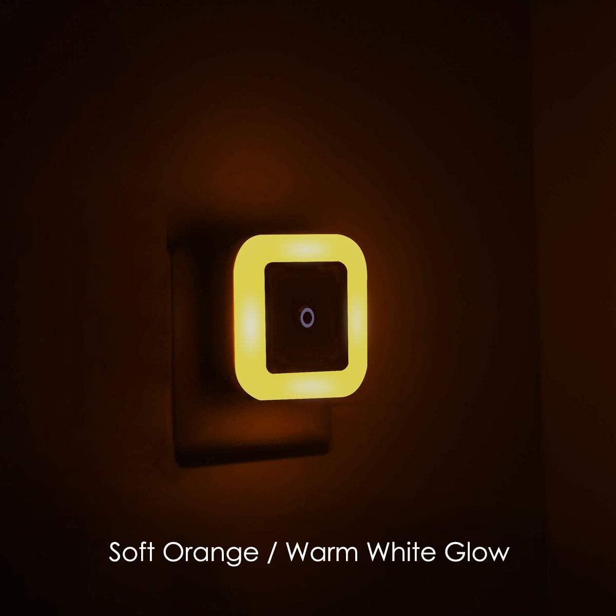 Soft Orange/Warm White/Amber Glow, 0.5W Plug in Night Lights, Dusk to Dawn Senor, 2 Pieces