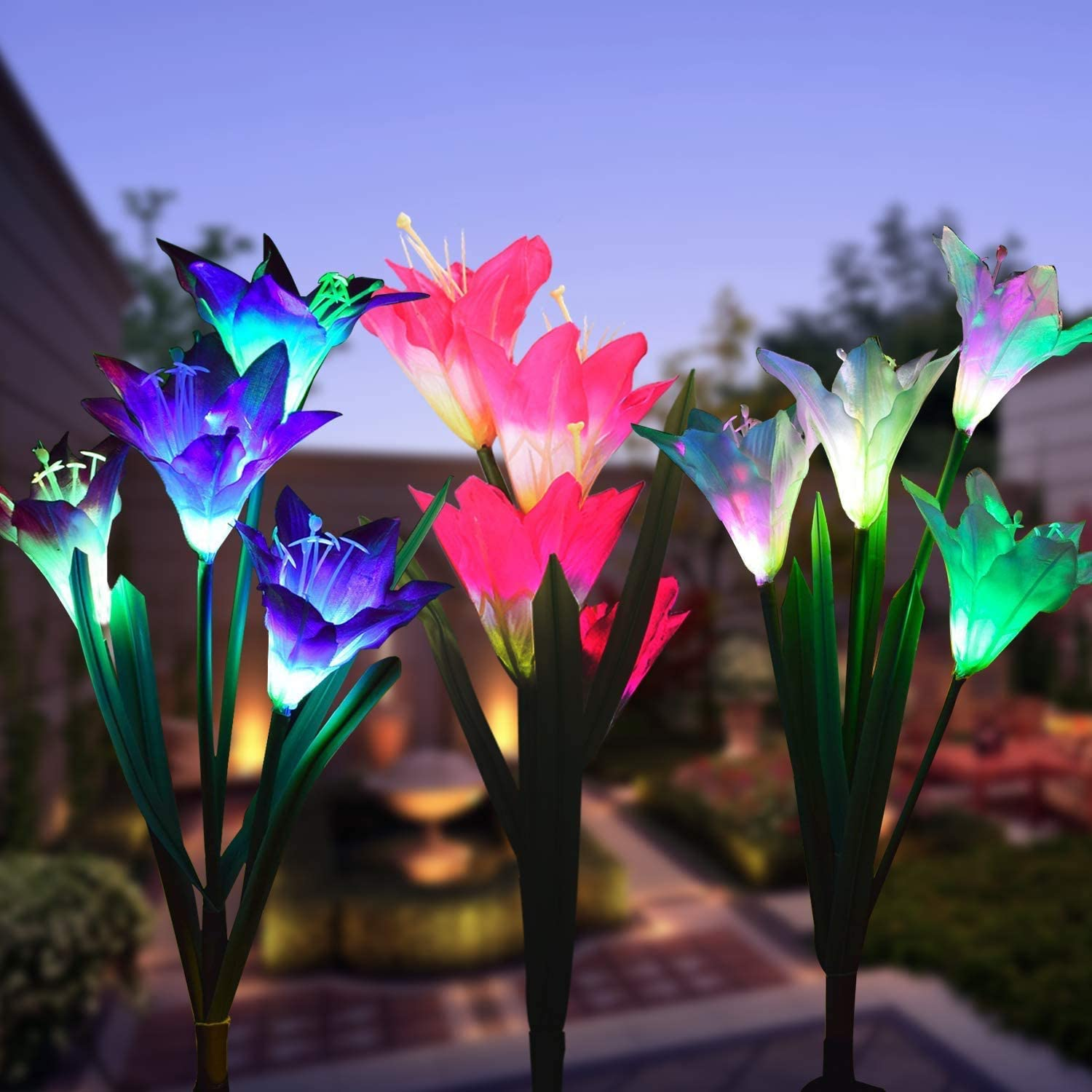 SOLARMKS 3 Pack Solar Flower Lights,Multi-Color Changing Lily Flower Outdoor Solar Lights for Patio,Garden,Yard Decoration, Bigger Flower and Wider Solar Panel