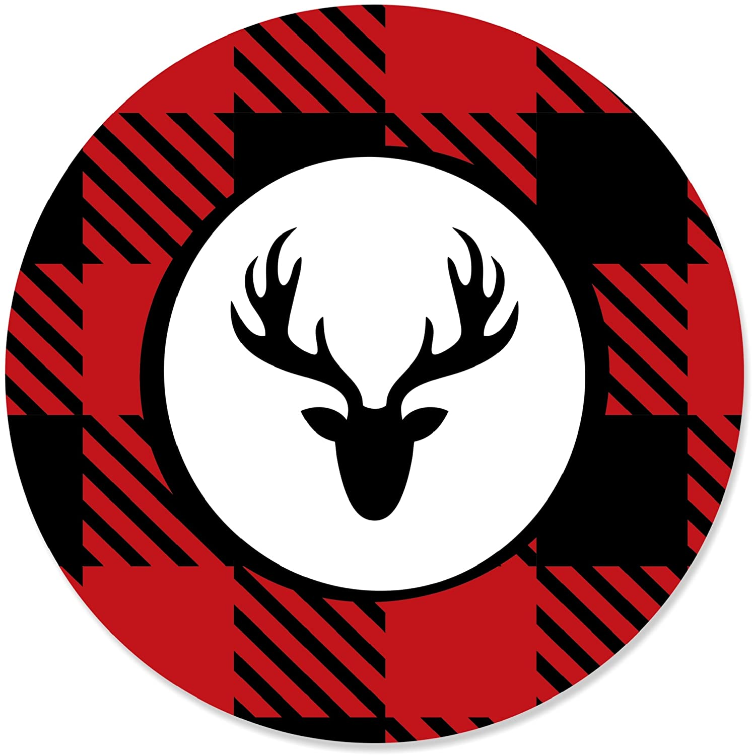 Big Dot of Happiness Prancing Plaid - Christmas and Holiday Buffalo Plaid Party Circle Sticker Labels - 24 Count