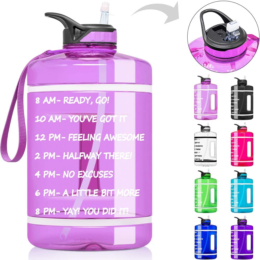 1 Gallon Water Bottle with Time Marker & Straw - 128 oz BPA Free Reusable Large Motivational Fitness Sports Water Bottle Leakproof Big Plastic Gym Water Jug for Biking, Running, Workout
