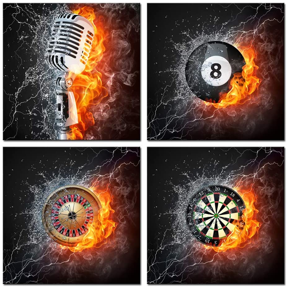 Nachic Wall 4 Piece Painting Fire and Water Microphone Darts Billiards Casino Roulette Pictures Wall Art Print Modern Pub Bar Game Room Man Cave Wall Decoration Gallery Canvas Wrapped Ready to Hang
