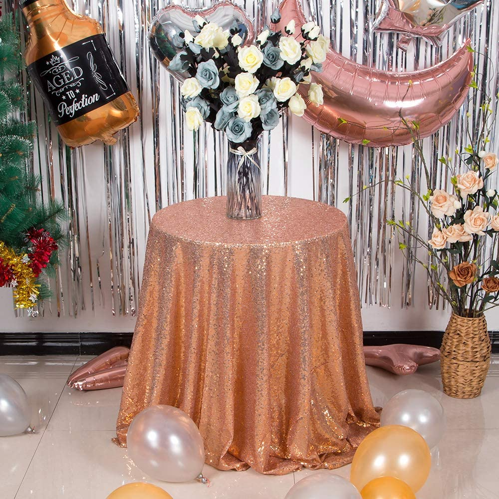 JYFLZQ Sequin Tablecloth Table Cover Overlay for Wedding Birthday Party Baby Shower (50