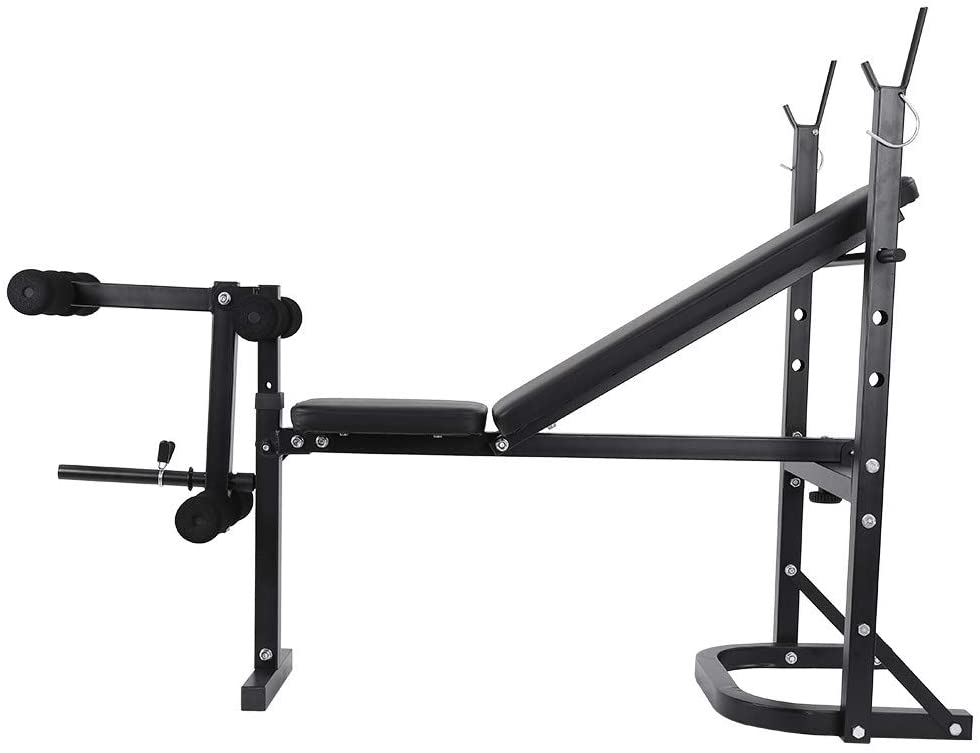 Fullbody Workout Weight Bench Press Barbell Lifting Rack Equipment Exercise Adjustable Incline (Black)