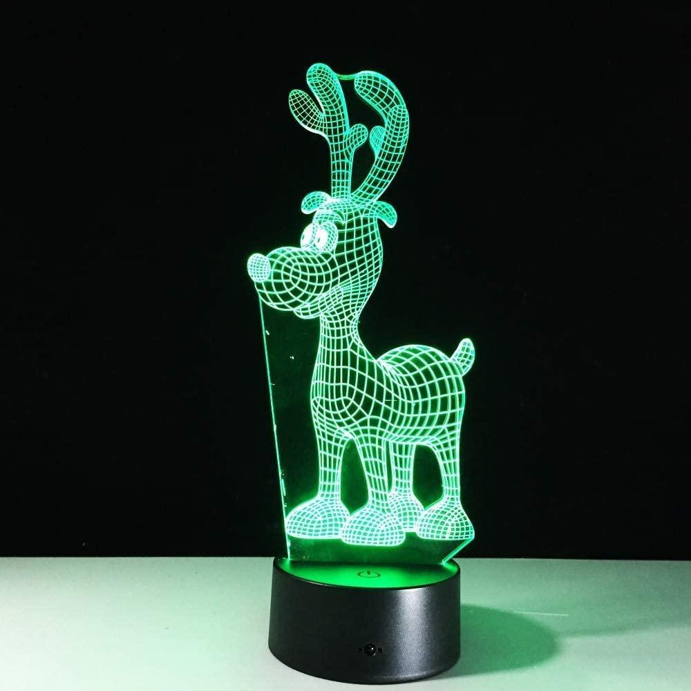 dferh 3D Night Light RGB LED Night Acrylic Deer Reindeer Night Light Christmas Decoration Lamp Projector Party 7 Colors Lights