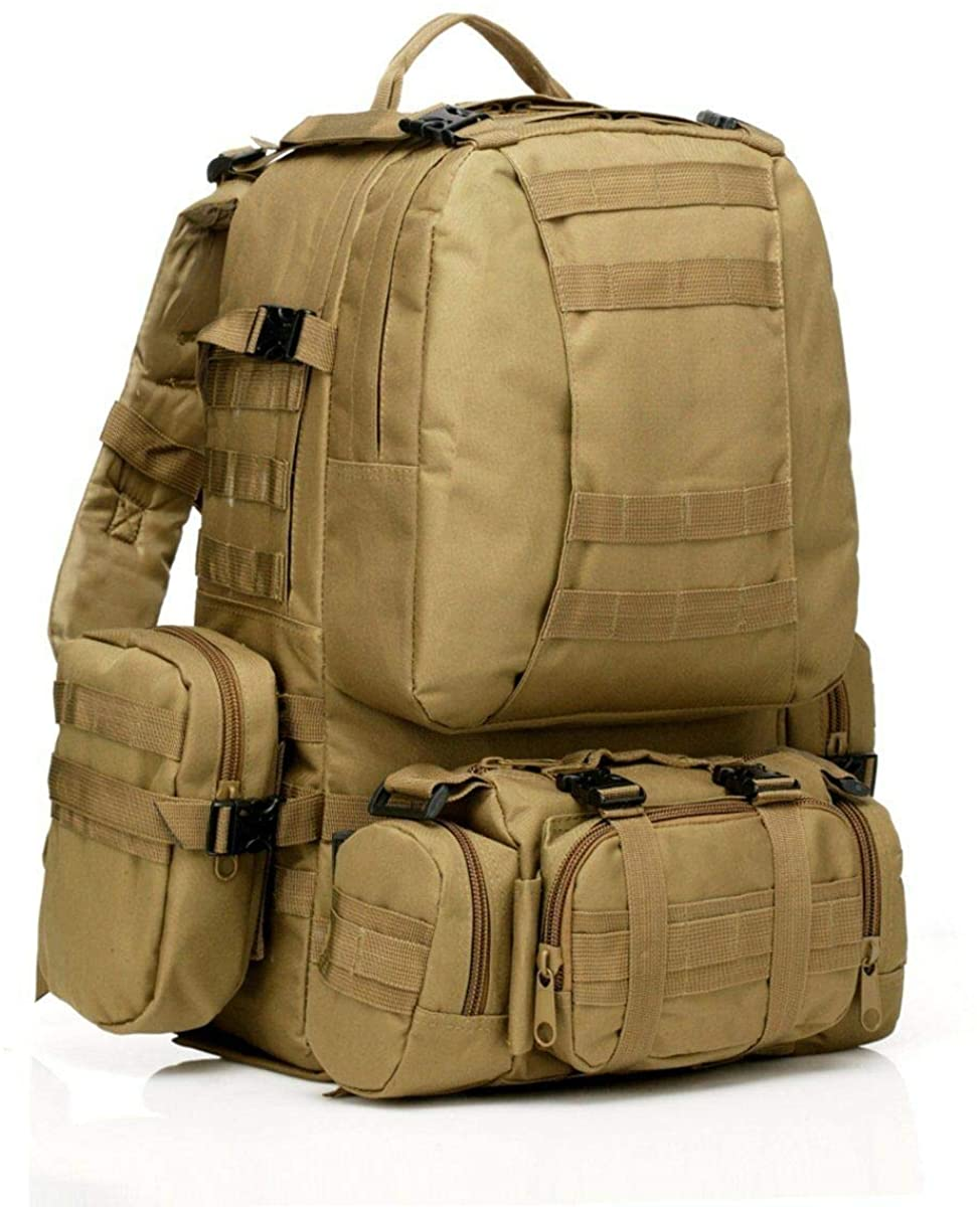 Tactical Backpack 55L with Built-up 3 MOLLE Bags Rucksacks for Travelling