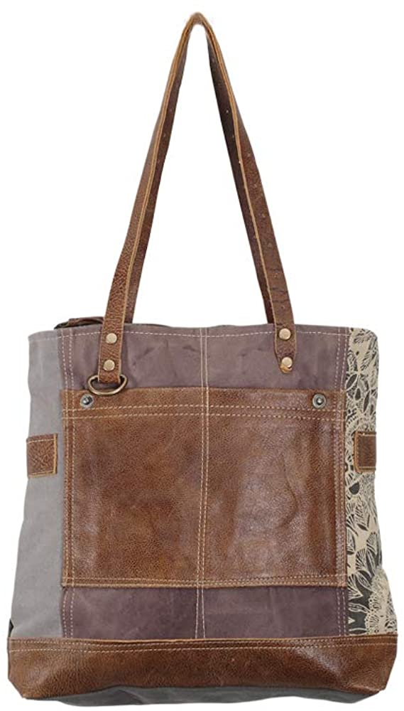 Myra Bags Side Floral Print Upcycled Canvas Tote Bag S-0915, Tan, Khaki, Brown, One_Size
