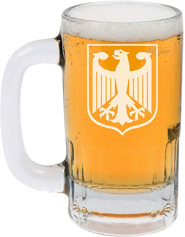 12oz Beer Mug Stein Glass Coat Of Arms Of Germany German Eagle