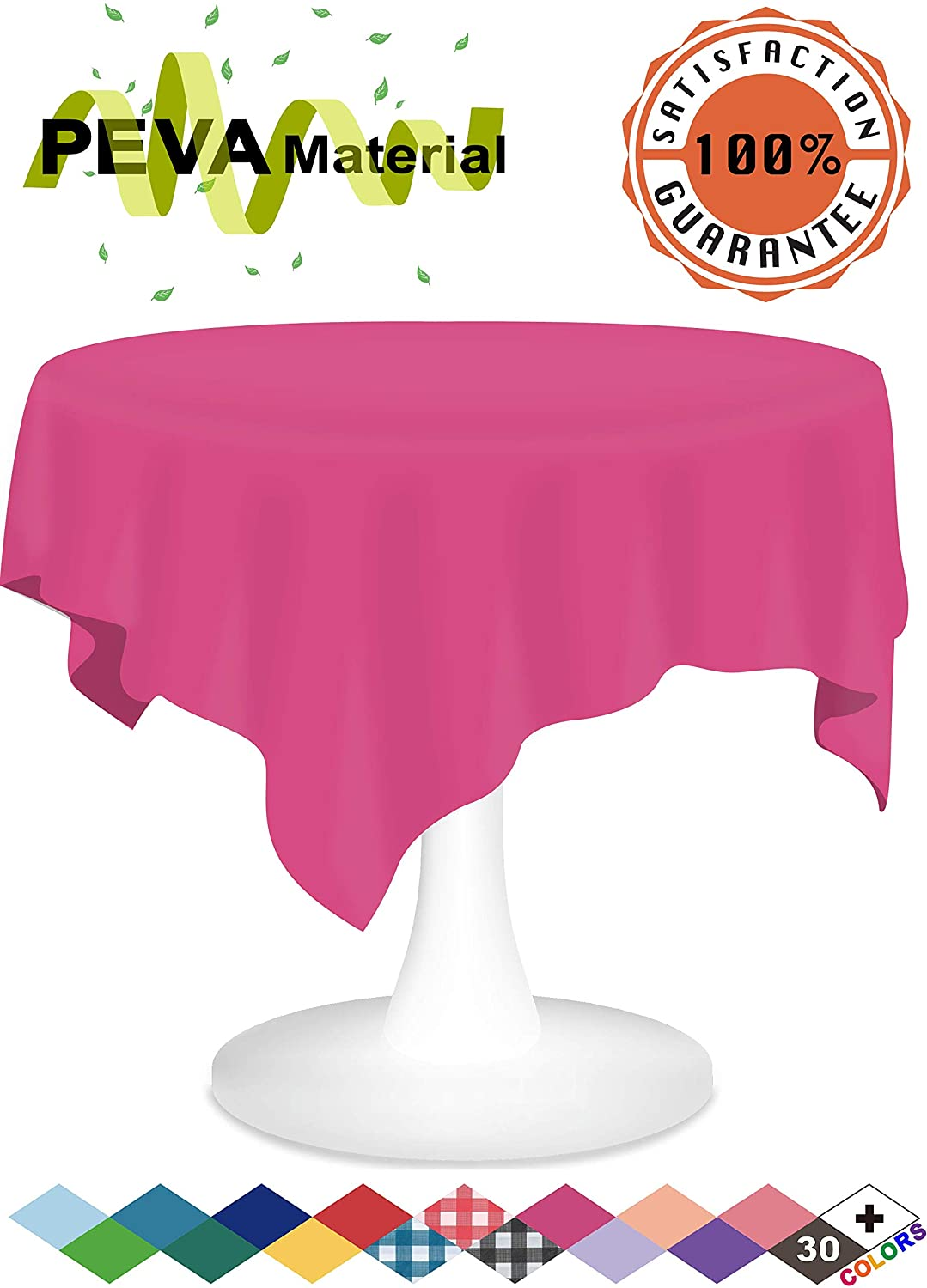 Hot Pink Plastic Tablecloth 3 Pack Cerise Disposable Table Covers 84 Inches Circle Shower Party Tablecovers PEVA Vinyl Table Cloths for Round Tables up to 6 ft and Picnic BBQ Birthday Wedding Banquet