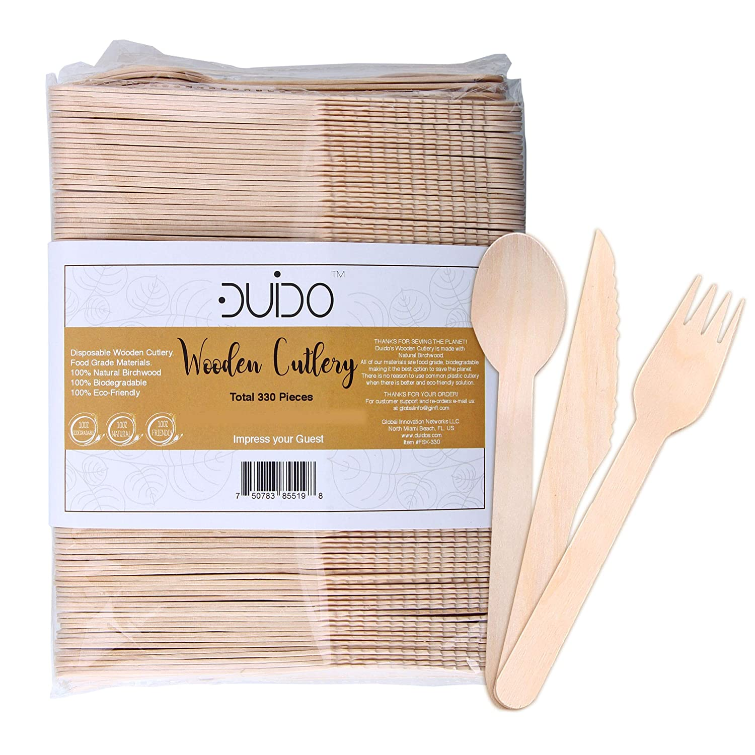 Biodegradable Disposable Wooden Cutlery Utensils – (Pack of 275) 110 Forks 55 Knives 110 Spoons 5.5-inch Set Eco-Friendly Compostable and Disposable Silverware Kit Party Supplies Events