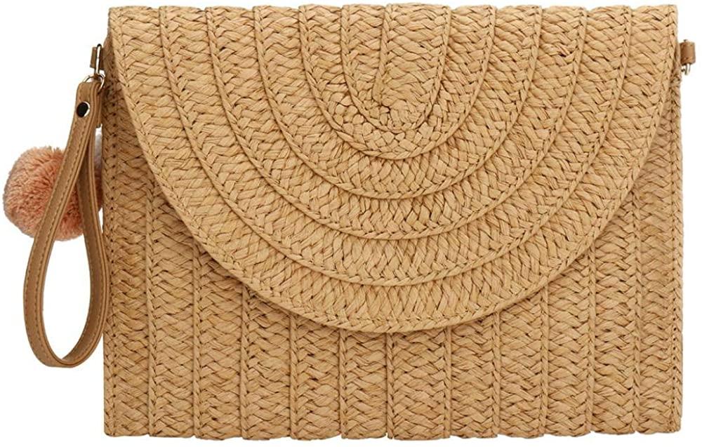 Straw Clutch,Straw Handbag Clutch for Women Summer Beach Straw Woven Envelope Purse Wallet