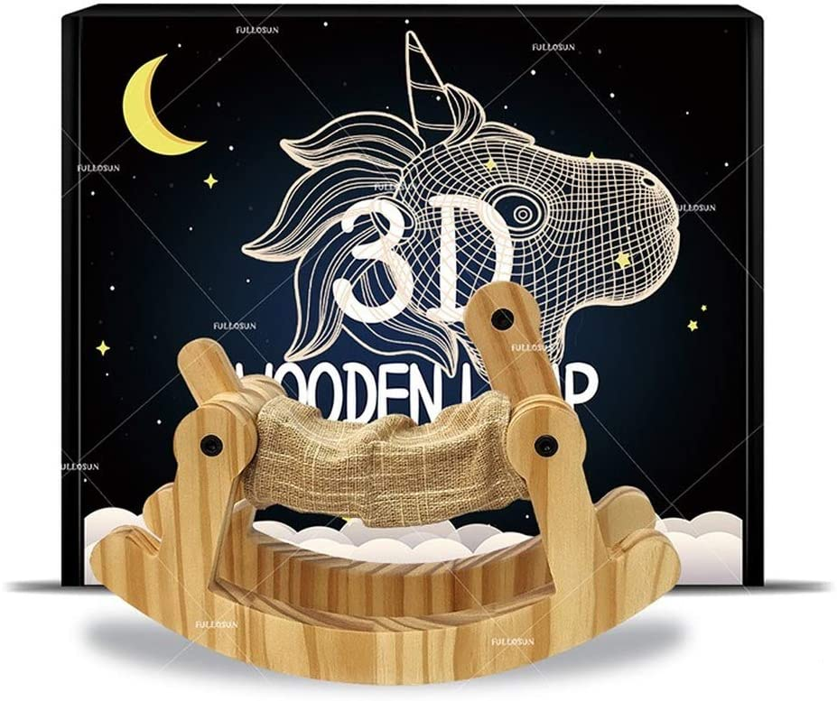 YANSHU Night Light for Kids, 3D Night Light Unicorn Trojan Wooden Light Christmas Children Halloween Birthday Gifts