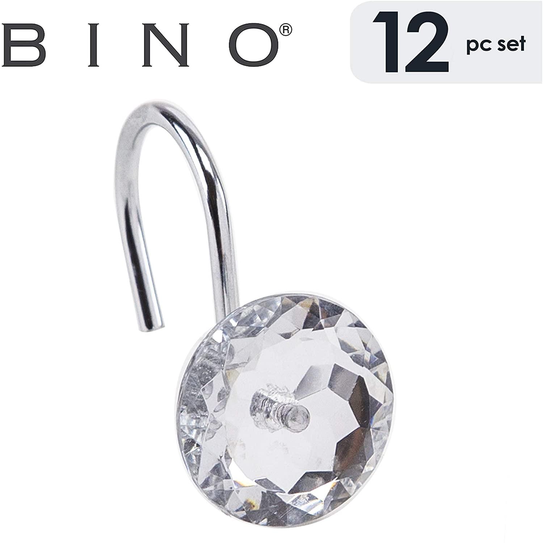 BINO Crystal Shower Curtain Hooks - Chrome, Set of 12 Shower Curtain Rings - Shower Hooks for Curtain Shower Rings