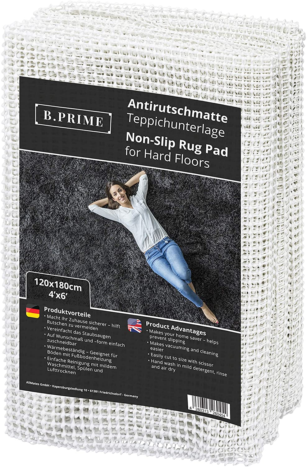 B.PRIME 4x6-Feet Non-Slip Rug Underlay Pad for Hard Floors. Different Size Options Available