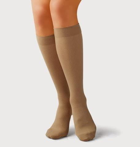 Tonus Elast Amber Fiber Elastic Medical Compression Long Socks w/Toecap - 10-18 mmHg - Sock Length 62.2-66.9 - XL (Black)