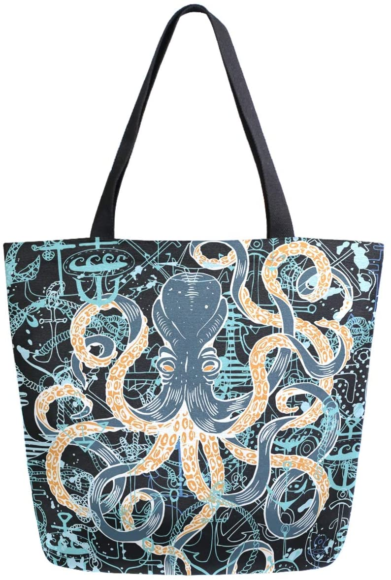 ZzWwR Stylish Octopus Vintage Large Canvas Shoulder Tote Top Handle Bag for Gym Beach Travel Shopping
