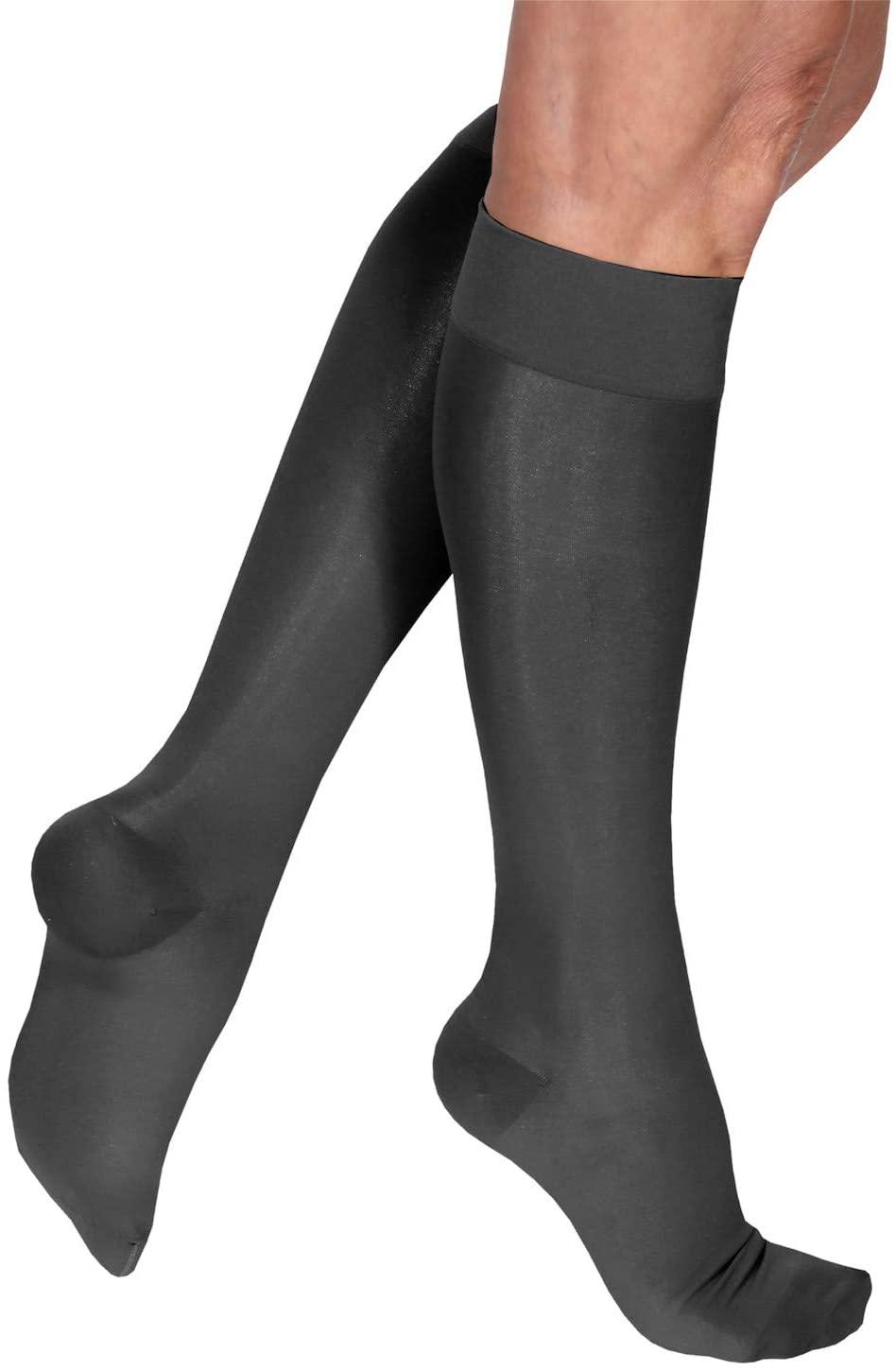 Support Plus Women's Mild Compression Knee Highs - Wide Calf Black Premier Sheer Stockings - X Large