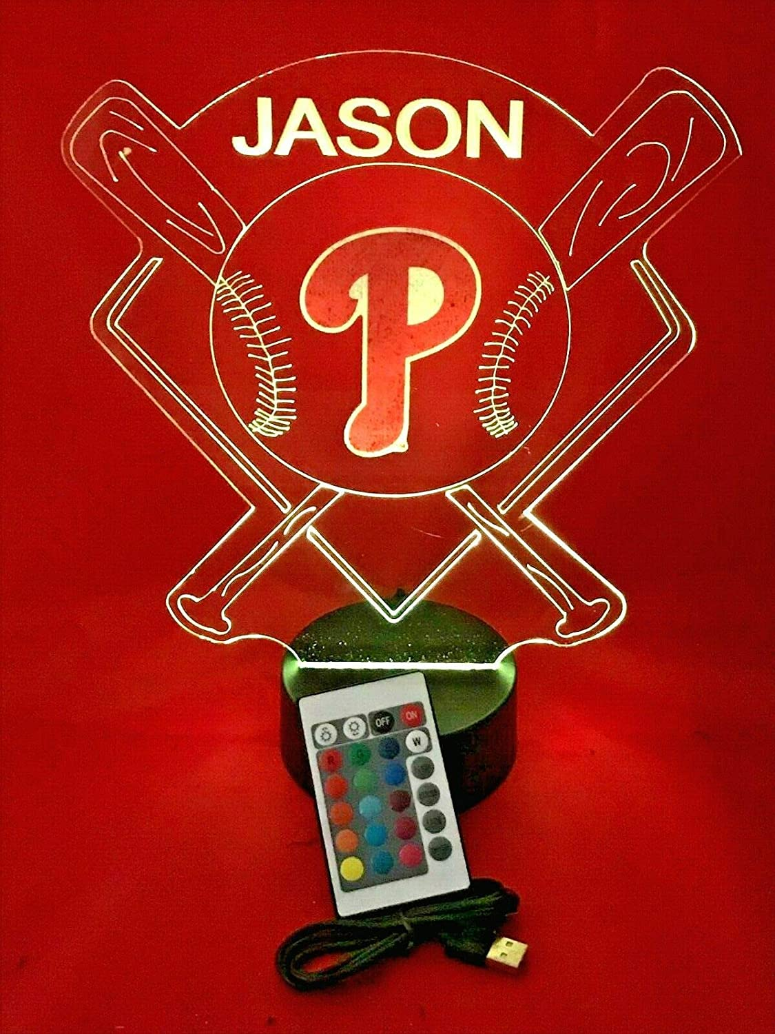 Baseball Night Light Up Lamp LED Lamp Personalized Handmade Stadium with Bats Free Personalization and Remote, Men Man Boys Girls Sports Gift, 16 Color Options, and Variations! (Phila Phillies)