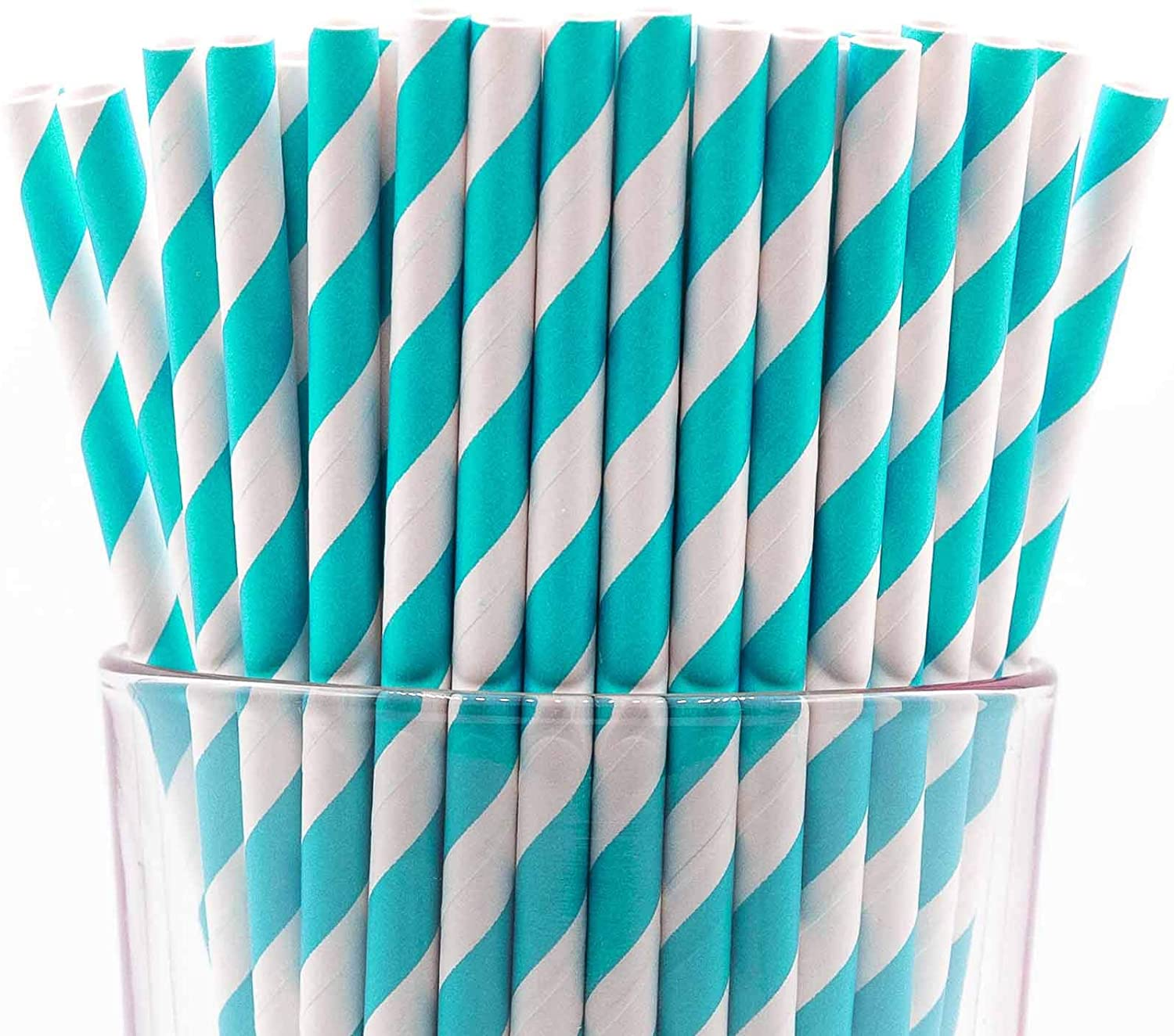Pack of 300 Turquoise Swirls Biodegradable 4-Ply Paper Drinking Straws (Compostable, Non-toxic, BPA-free)