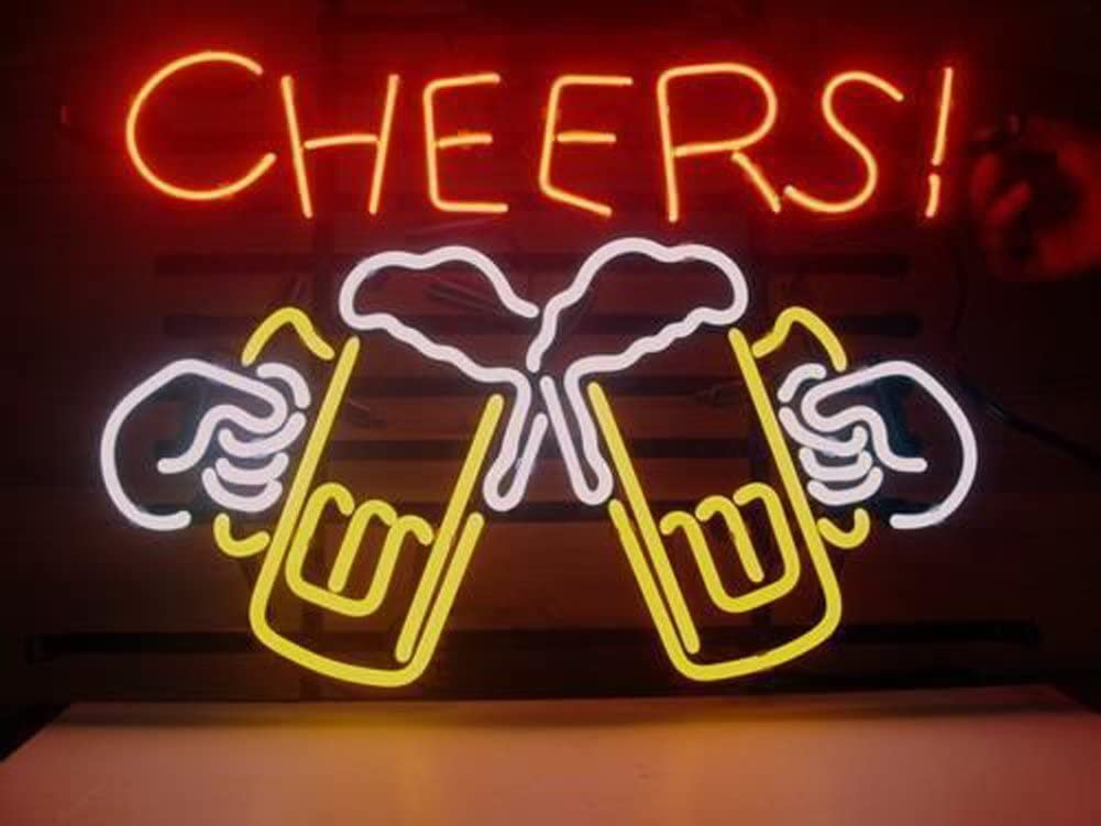 Cheers Beer Real Glass Neon Light Sign Home Beer Bar Pub Recreation Room Game Room Windows Garage Wall Store Sign (17x14 Large)