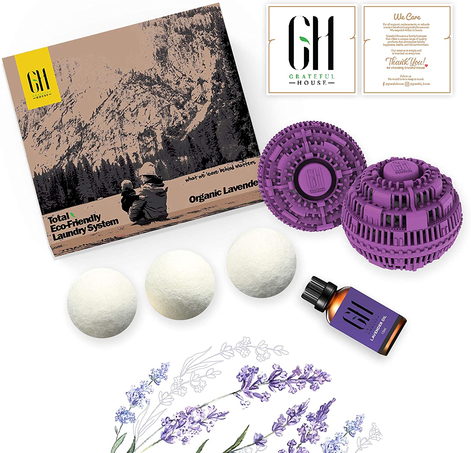 Grateful House Reusable Total Eco Friendly Laundry Set. Includes 2 Laundry Balls, 3 Organic Wool Dryer balls & Organic Essential Oil of Lavender. Total Laundry System