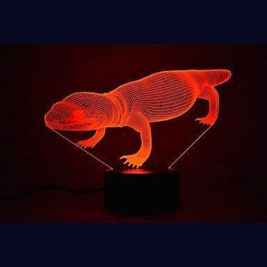 Creative 3D Crocodile Night Light 7 Colors Changing USB Power Touch Switch Decor Lamp Optical Illusion Lamp LED Table Desk Lamp Children Kids Brithday Christmas Gift