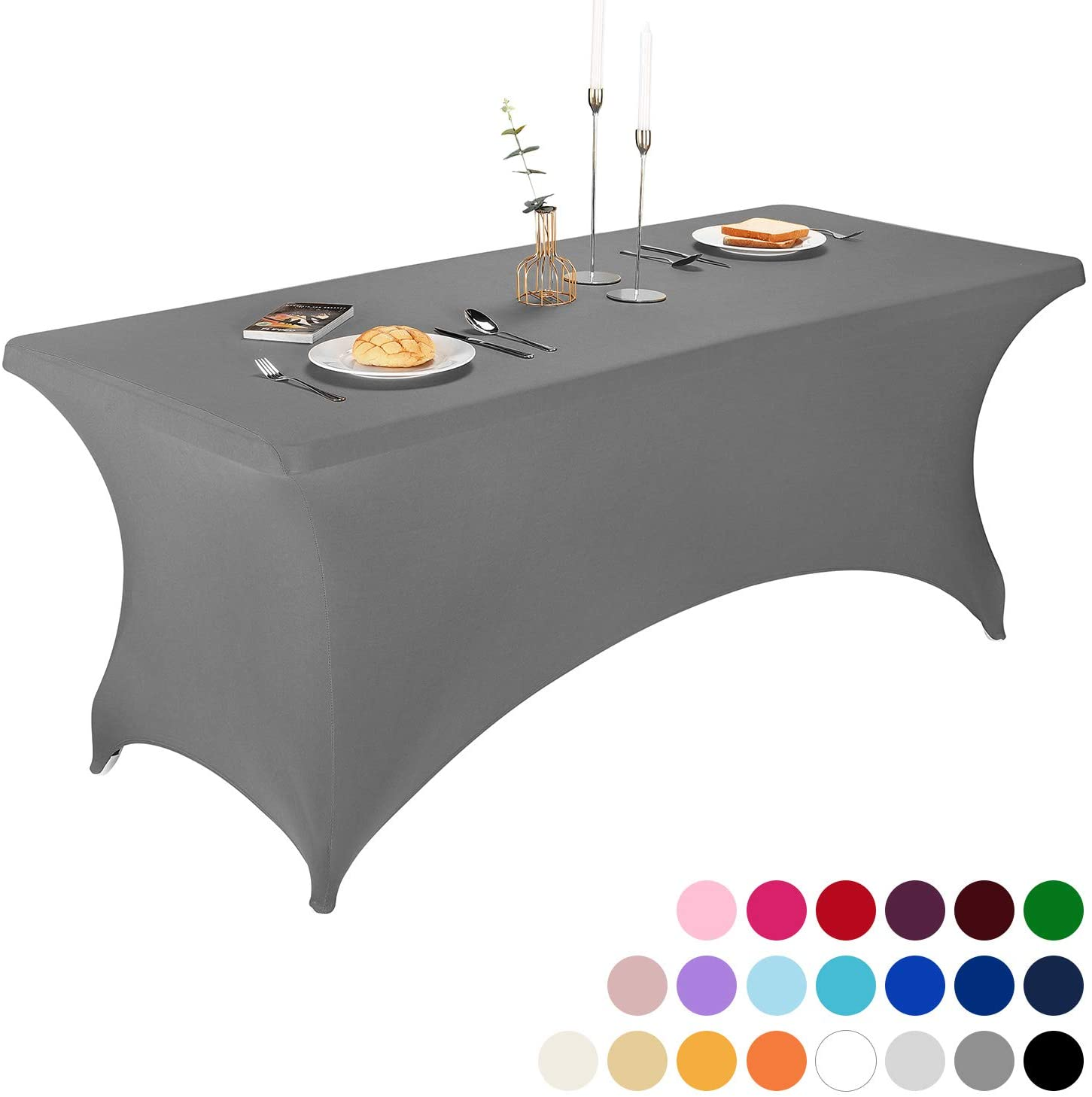 FELIZEST Spandex Table Covers, 6 ft/4 ft Spandex Table Cloth, Rectangular Stretch Table Cover for Folding Table (6ft, Gray)