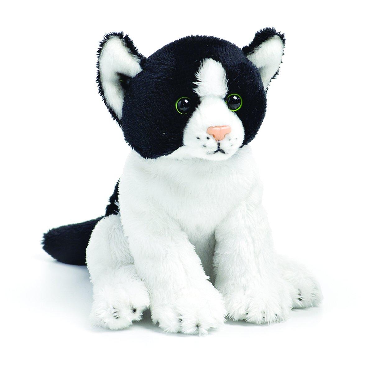 DEMDACO Black and White Sitting Cat Children's Plush Beanbag Stuffed Animal Toy