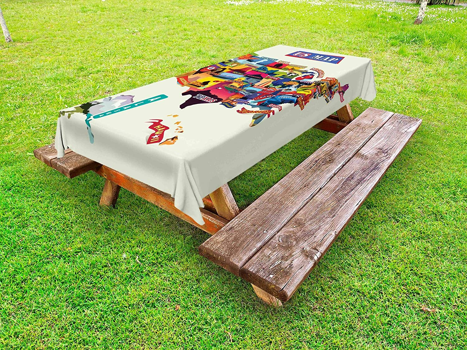 Ambesonne Wanderlust Outdoor Tablecloth, US Map Seashore and Sunflowers Tourist Attractions Jersey Cow Milk Corn Field, Decorative Washable Picnic Table Cloth, 58