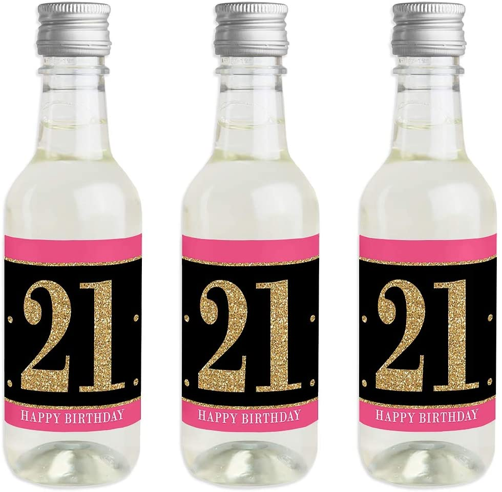 Finally 21 Girl - 21st Birthday - Mini Wine and Champagne Bottle Label Stickers - 21st Birthday Party Favor Gift for Women and Men - Set of 16