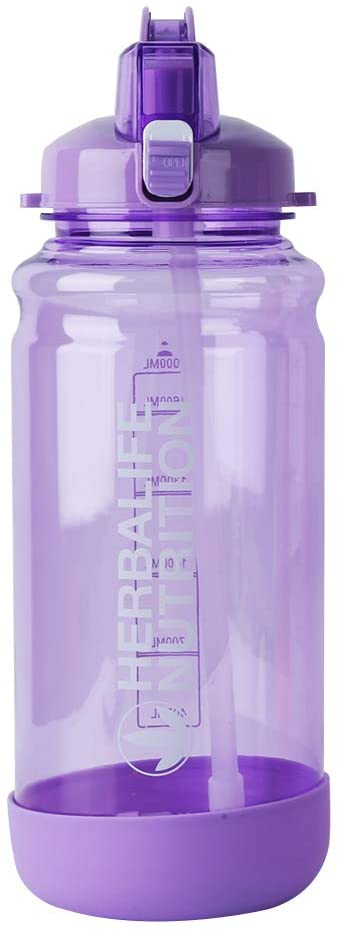 MICHLEY 50.5OZ Sports Gallon Water Jug with Straw Large Capacity Travel Water Bottle with Measurements
