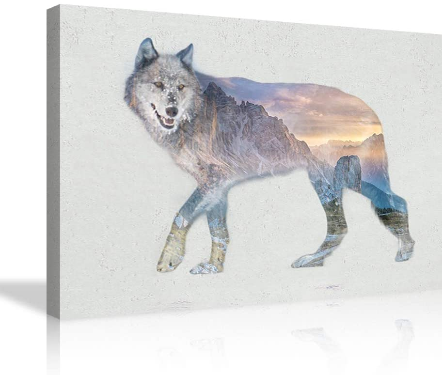 Wolf Wall Decor Animal Canvas Painting Wolf with Mountains Landscape Wall Art Wolf Poster Giclee Wolf Picture Print on Canves Wolf Artwork for Living Room Bedroom Framed Ready to Hang