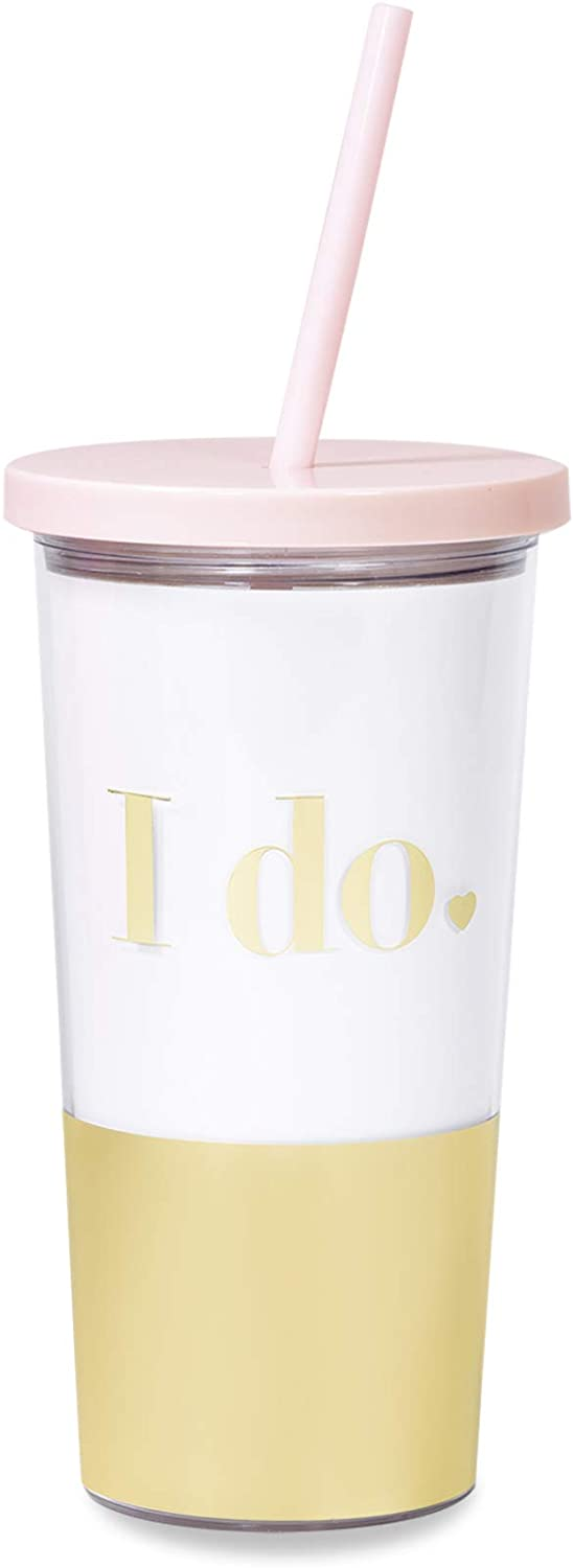 Kate Spade New York Gold/Blush Pink Bridal Insulated Tumbler with Reusable Silicone Straw, 20 Ounces, I Do (Gold)