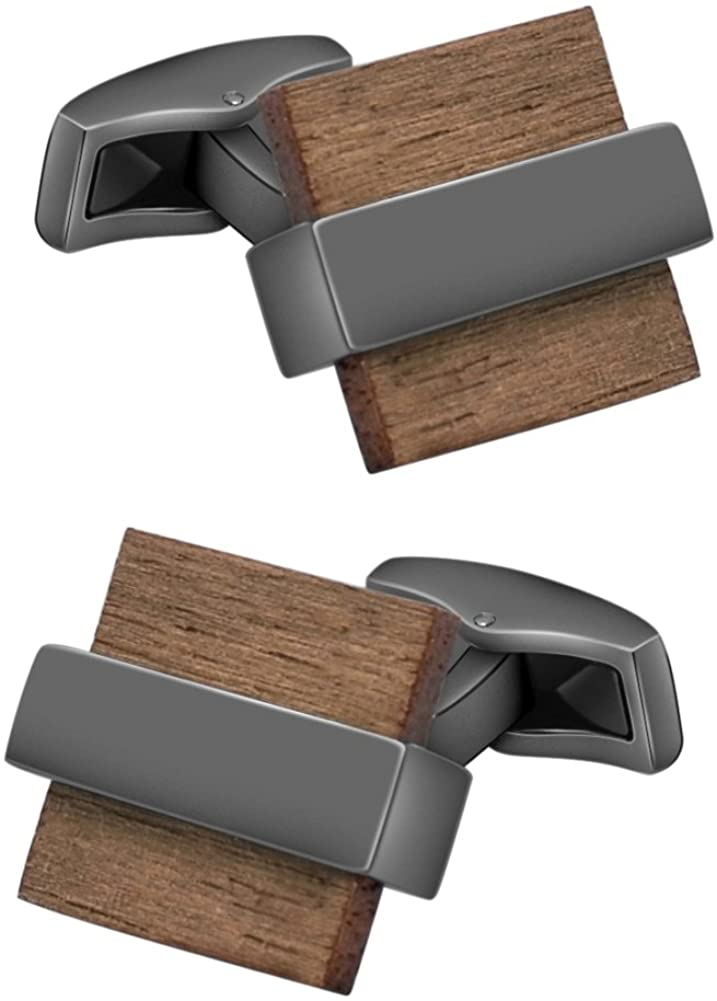Mr.Van Natural Wood Cufflinks Men's Handcrafted Square Wood Cuff Links Set Classic Wedding Business Gift for Men